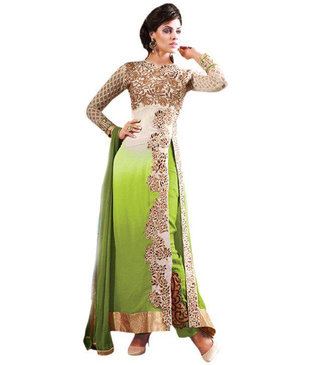 5d1f325dc8 Kesari Green and Beige Georgette Anarkali Unstitched Dress Material - Buy  Kesari Green and Beige Georgette Anarkali Unstitched Dress Material Online  at Best ...
