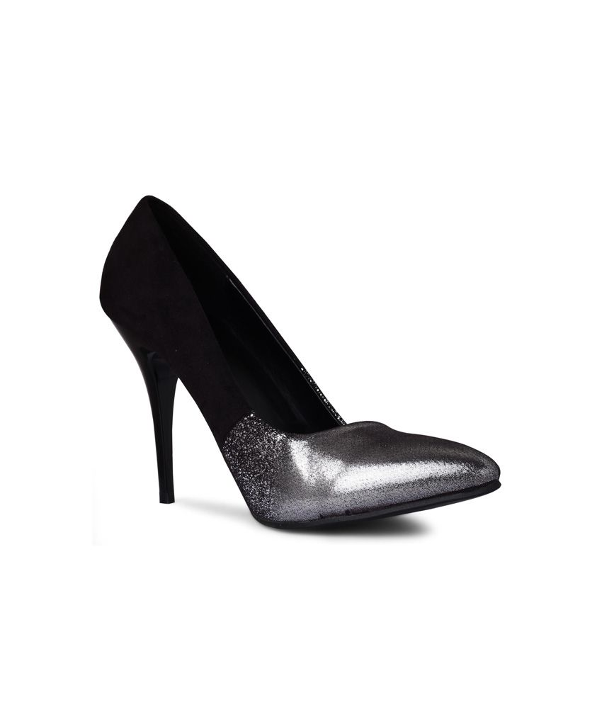 20dresses Black Faux Leather Heeled Slip-ons