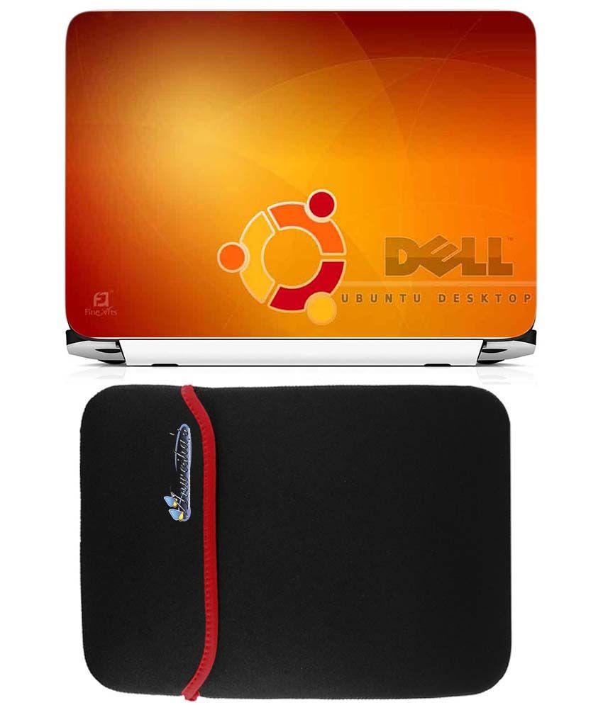 Anwesha's Reversible Laptop Sleeve With Laptop Skin 15.6 Inch - Dell Ubuntu
