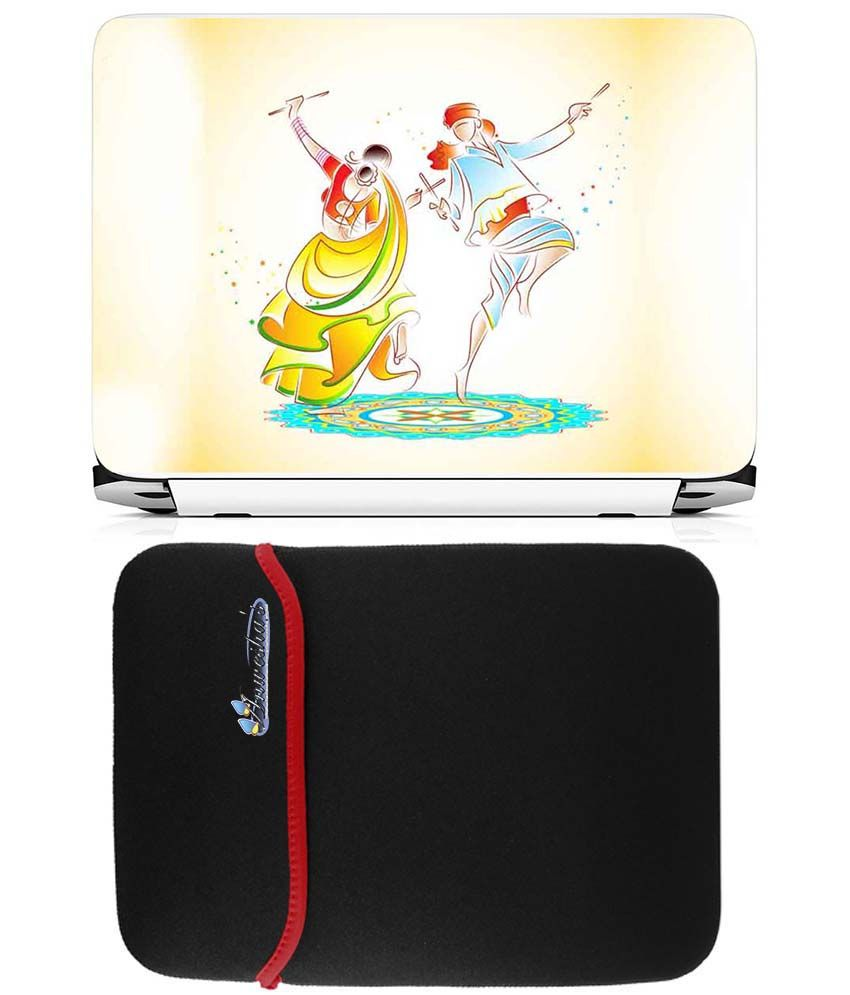Anwesha's Reversible Laptop Sleeve With Laptop Skin 15.6 Inch - Dandiya
