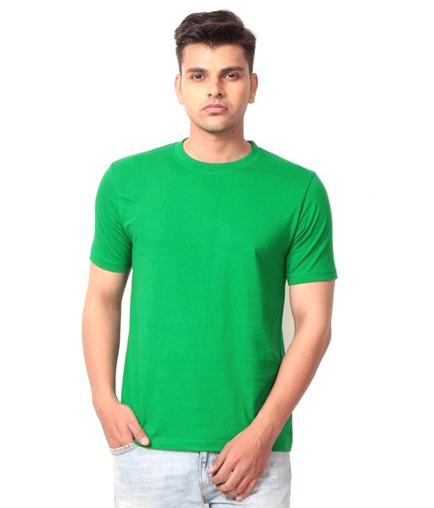 Eurossia Green Cotton Round Neck T Shirt