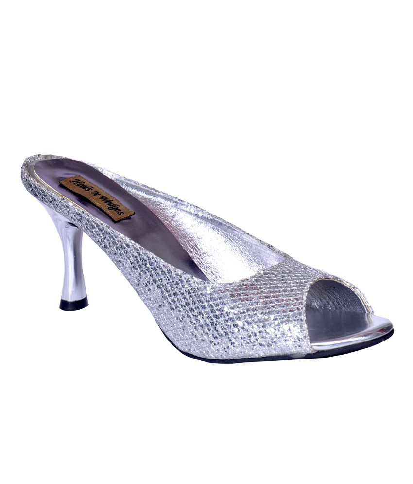 Heels N Wedges Silver Party Wear Leather Sandals