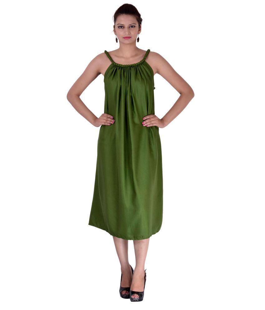 Indi Bargain Rayon Green A- line Dress