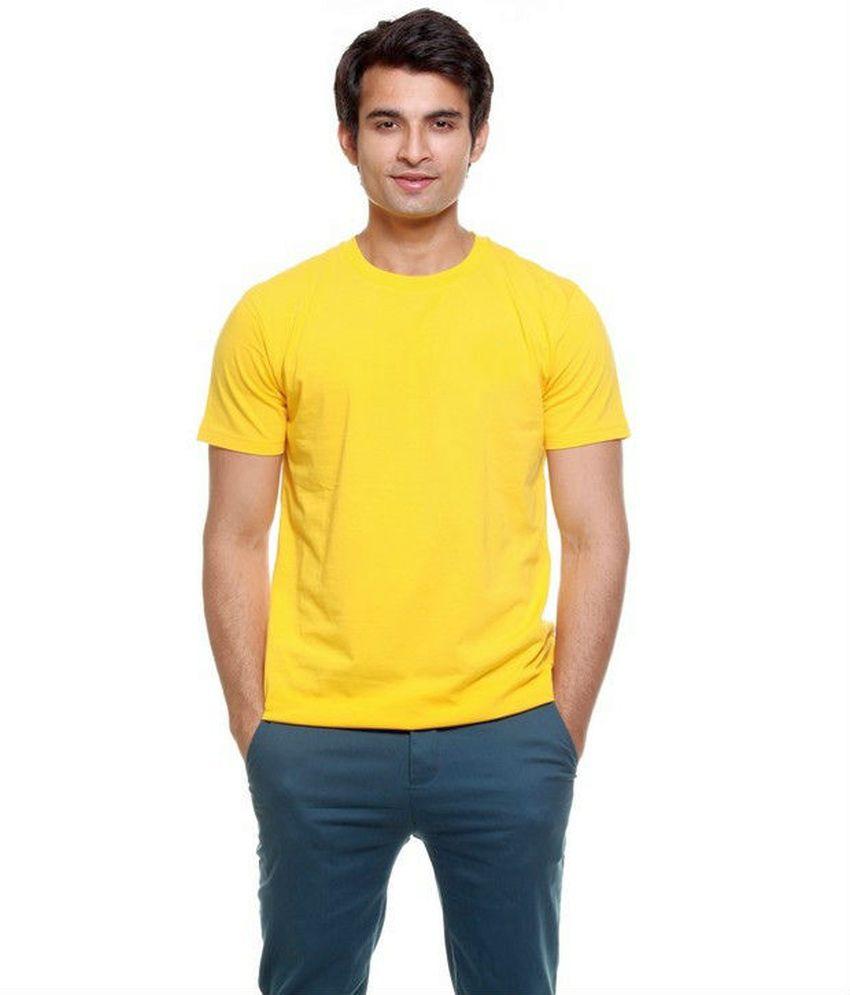 Poppini Yellow Round Neck Cotton T Shirt