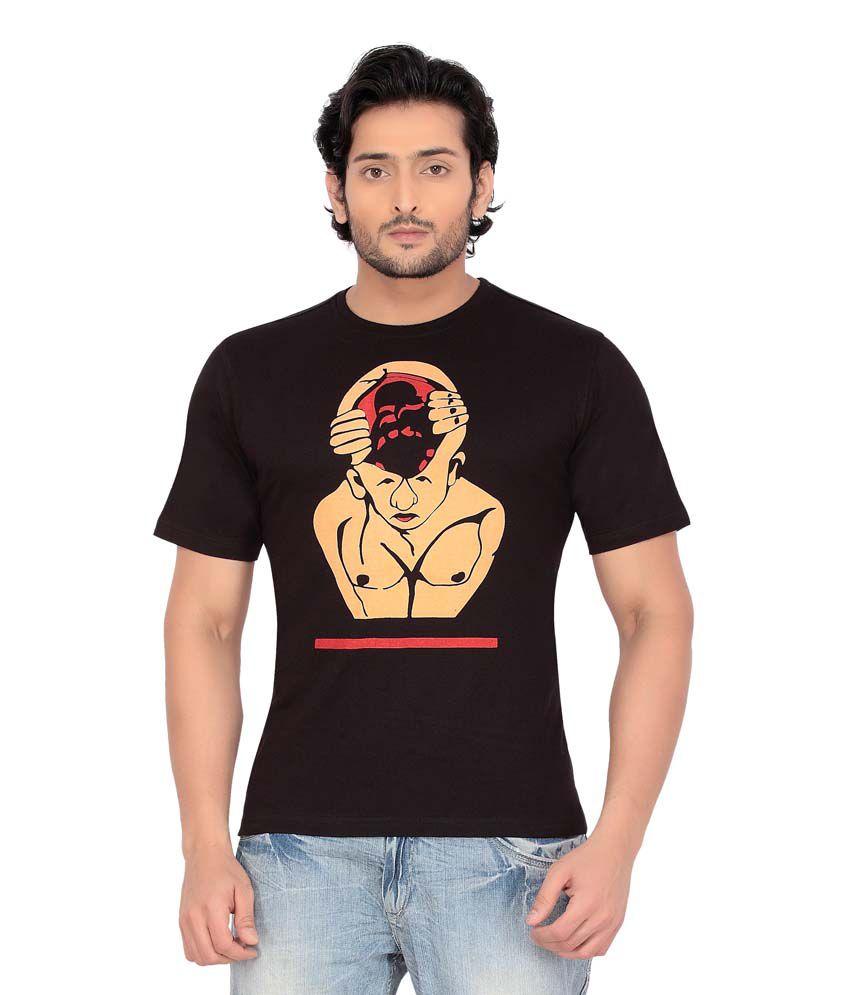 Psylane Black Cotton Round Neck T- Shirt