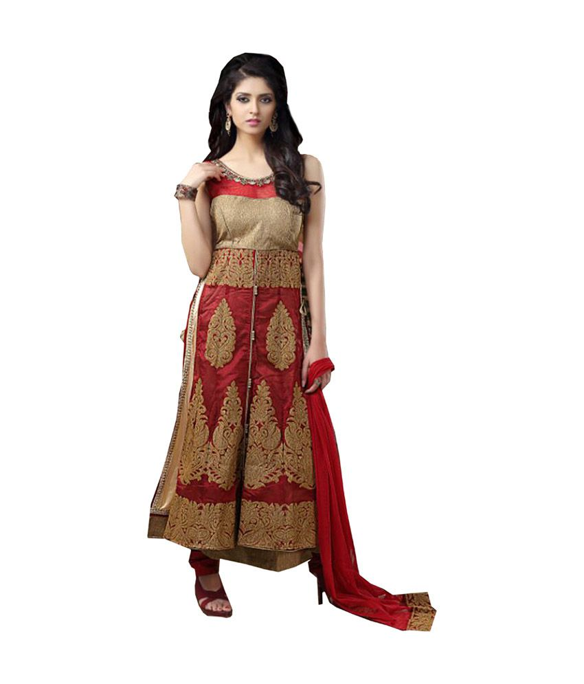 Ritu Creation Maroon Fancy Side Cut Anarkali Salwar Suit