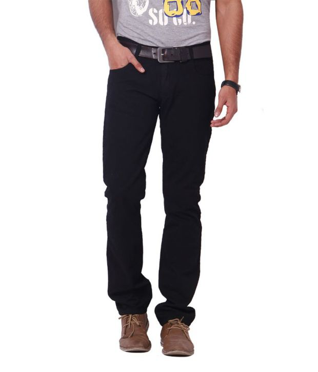 Dot-3 Cotton Black Jeans For Men
