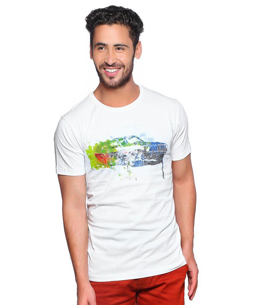 Nucode White Cotton Round Neck Printed T Shirt