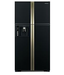 Hitachi 586 Ltrs RW 660 PND3 Frost Free Side-By-Side-Door Refrigerator GLASS BLACK