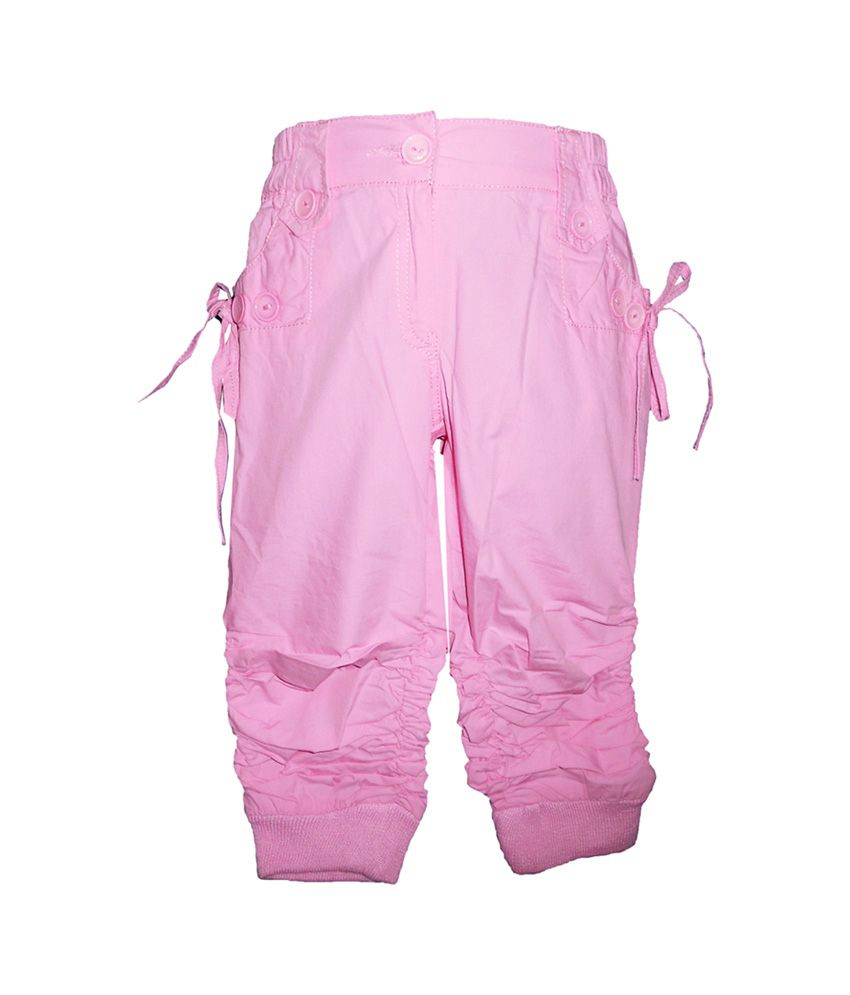 Brisa Solid Light Pink Cotton Trail Capri with Elastic Waist Band