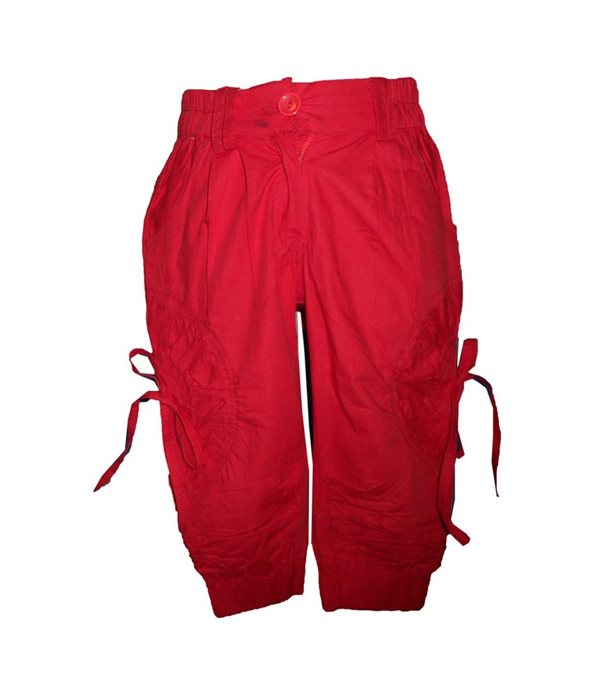 Brisa Solid Red Cotton Trail Capri with Elastic Waist Band