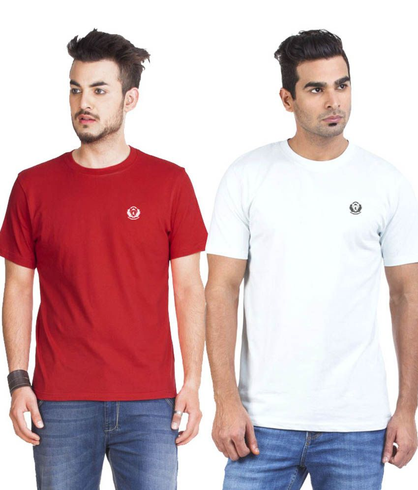 D Vogue London White Cotton Round Neck Half Sleeves T-Shirt - Pack of 2