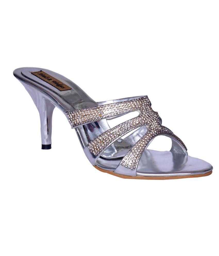 Heels n Wedges Fashionable Silver Ethnic Slip On