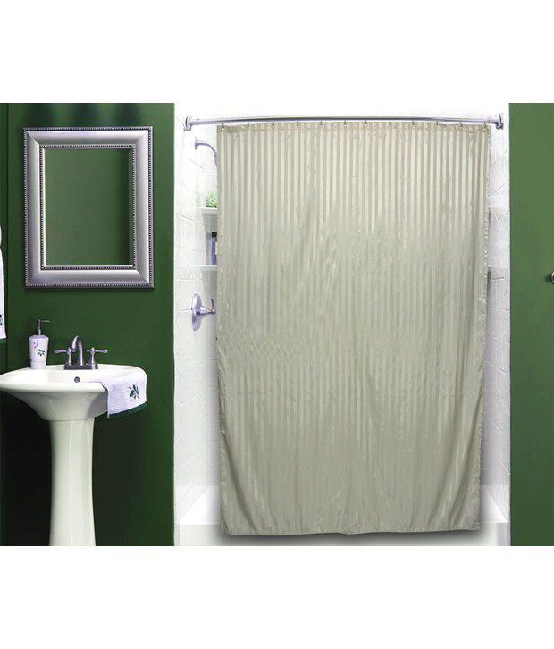 Just Linen Dark Sea Green Water Resistant Striped Polyester Full Length Shower Curtains