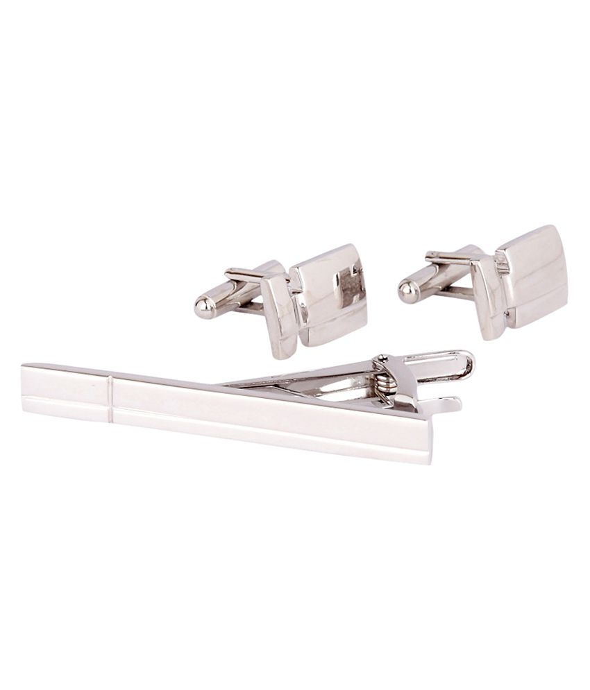 Park Avenue Silver Cufflinks with Tie Pin
