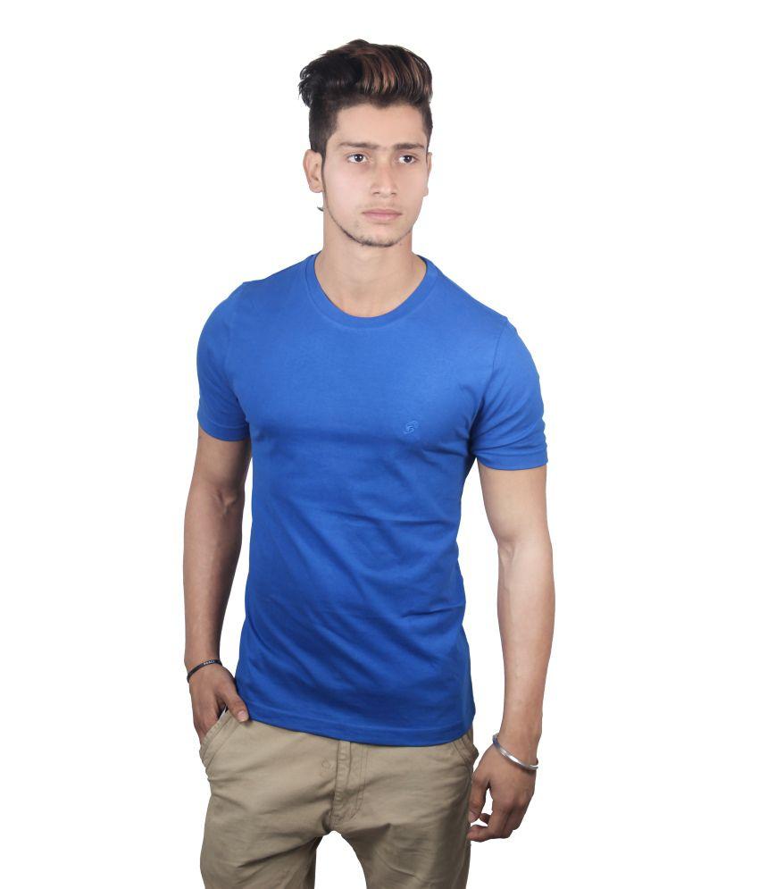 Spur Blue Cotton Round Neck T Shirt