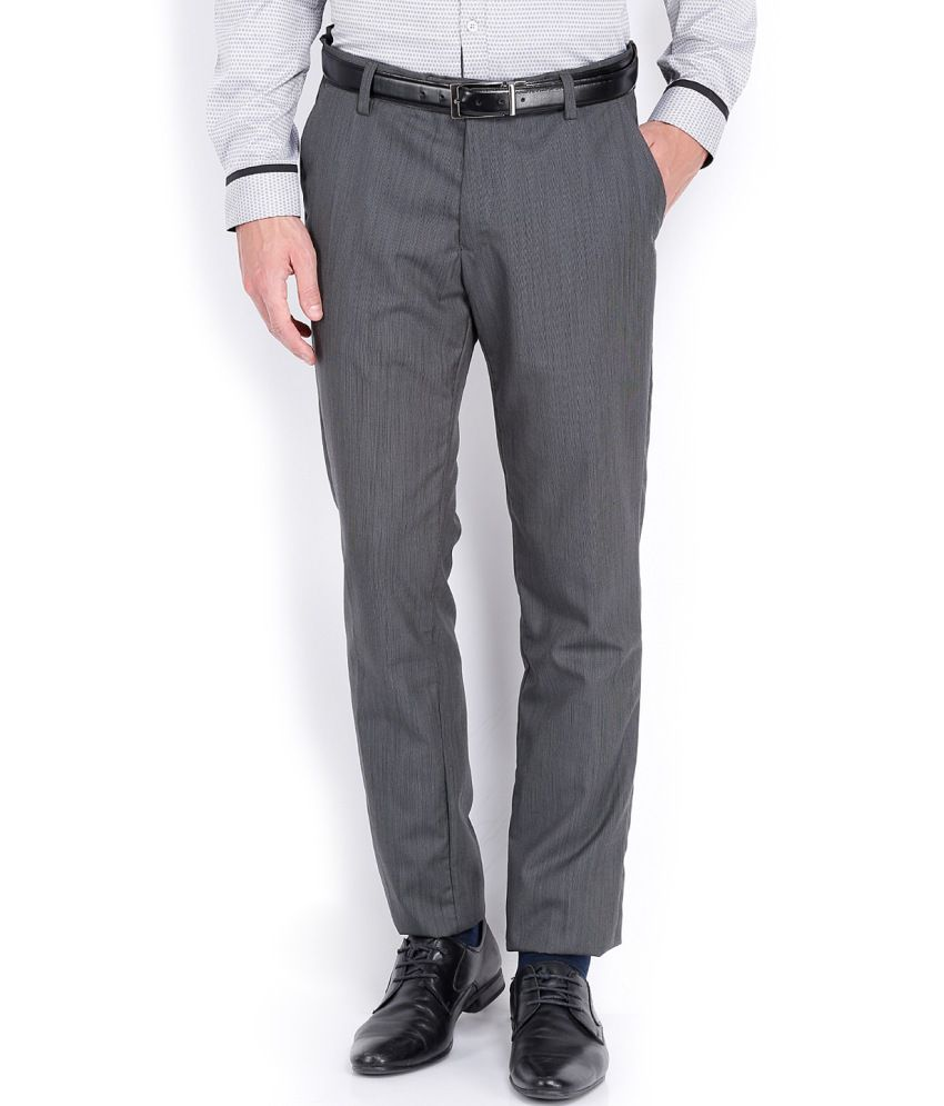 Black Coffee Grey Poly Viscose Formal Trousers