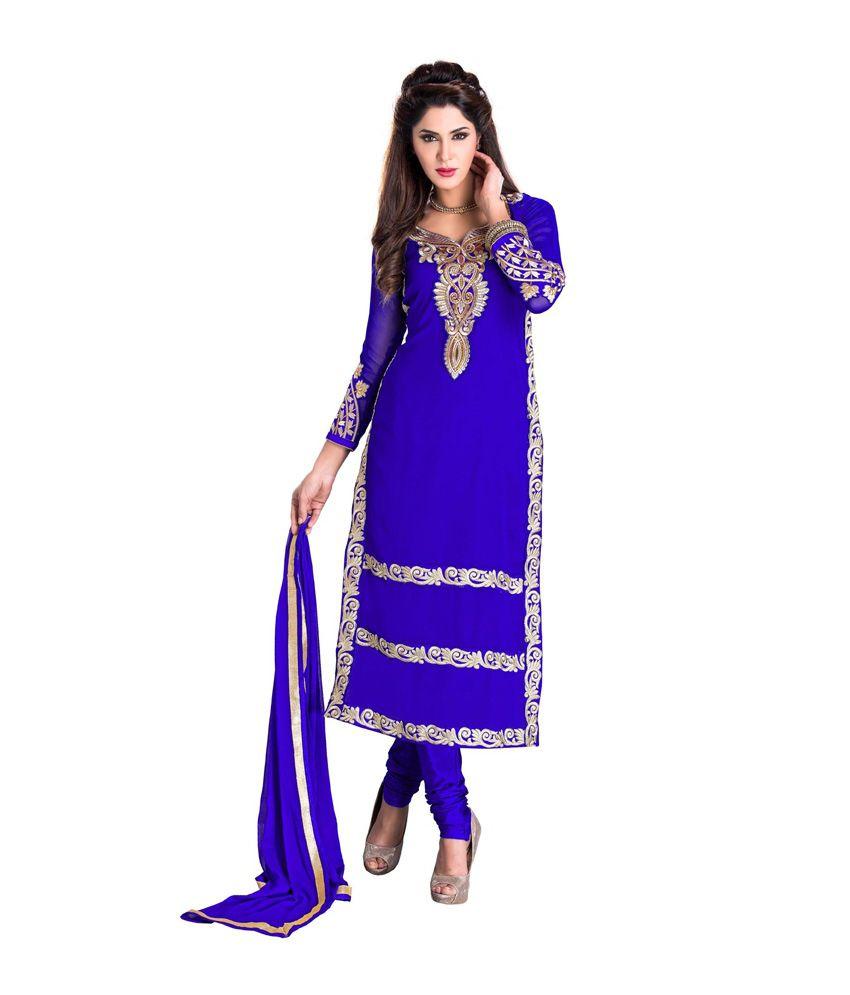 Gautam Creation Blue Faux Georgette Unstitched Dress Material