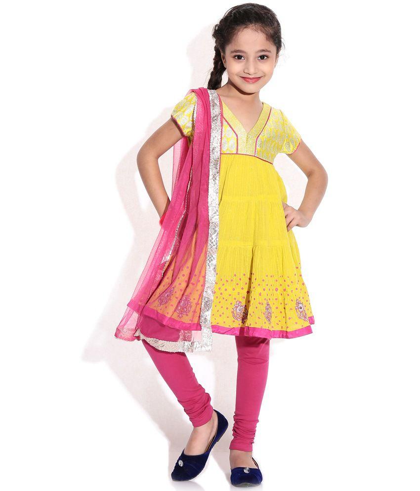 Biba Yellow Cap Sleeves Tiered Salwar Suit For Kids