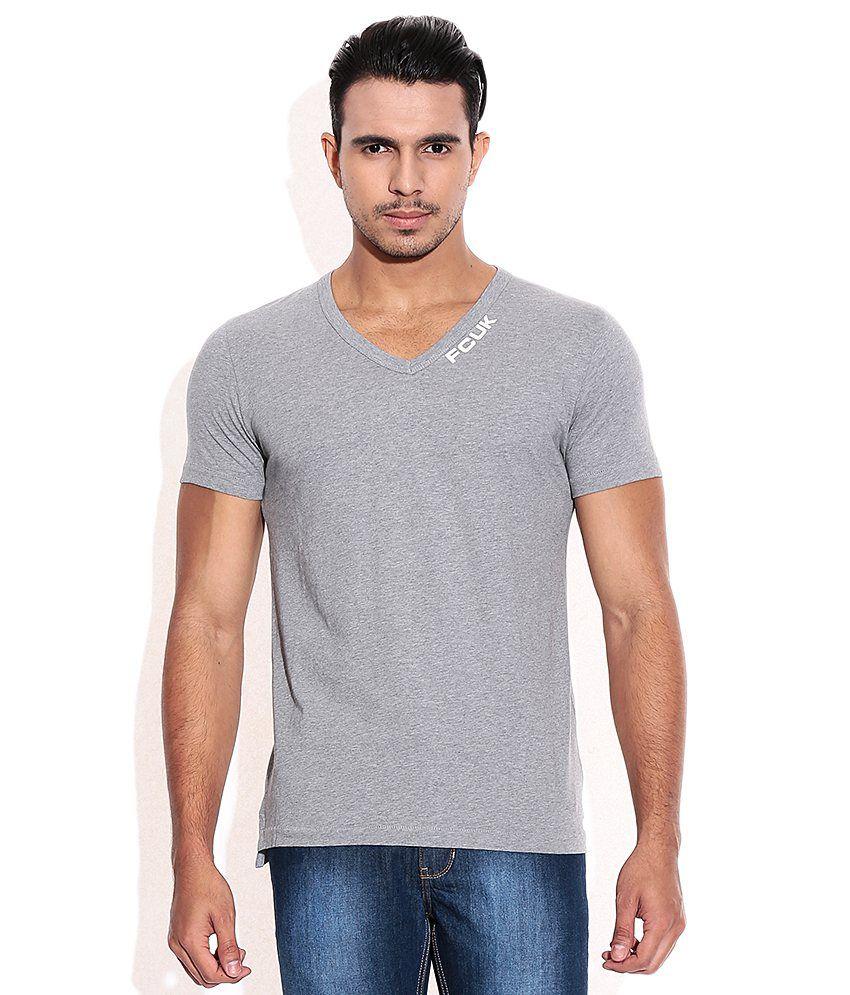 Fcuk Gray V-Neck T-Shirt