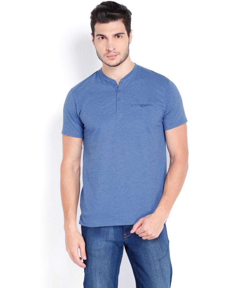 Highlander Blue Cotton Blend Henley T shirt
