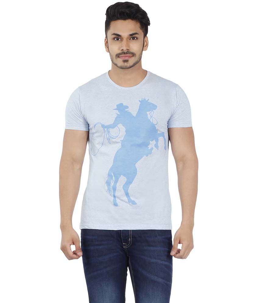 Imagica Blue Cotton Blend Round Neck Half Sleeves Tshirt