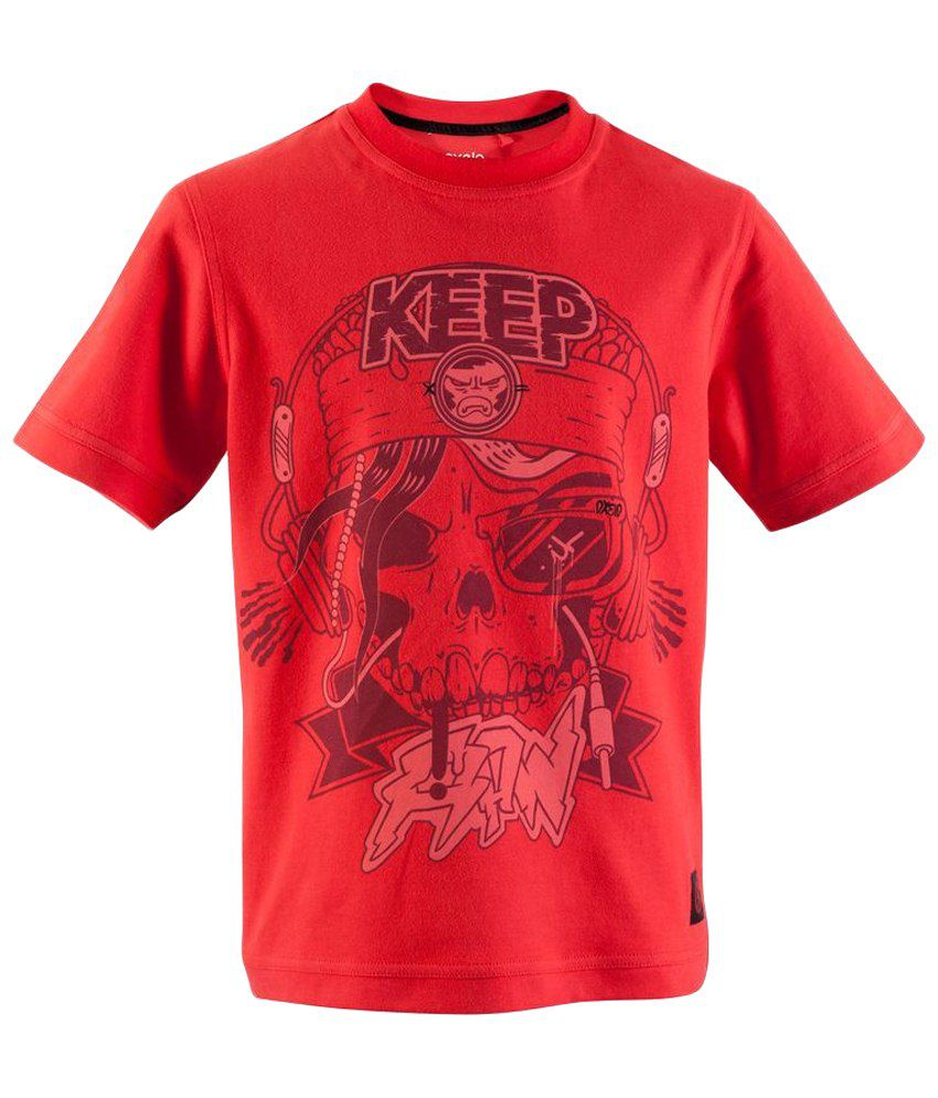 Oxelo Red Skull Skate Skating T Shirt