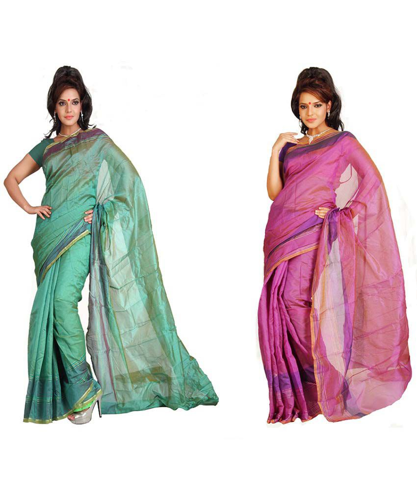 Vardhaman Goodwill Cotton Saree With Blouse Piece Pack Of 2