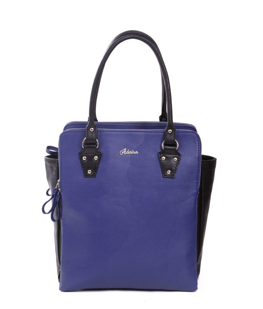 Adaira Blue P.U. Zip Shoulder Bag