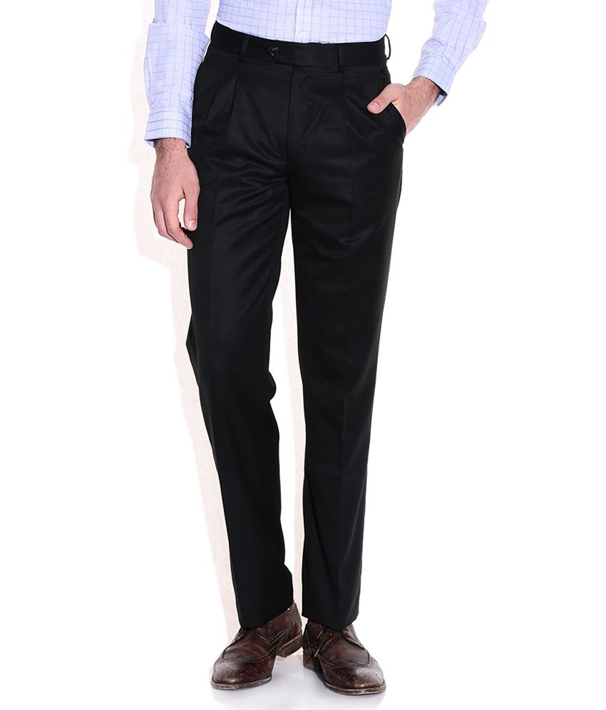 Elitus Black Regular Fit Formal Trousers