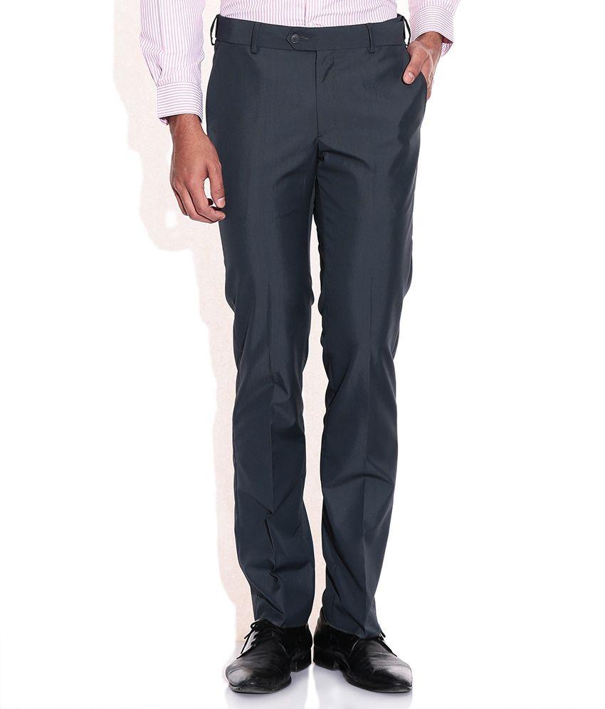 Elitus Gray Slim Fit Formal Trousers
