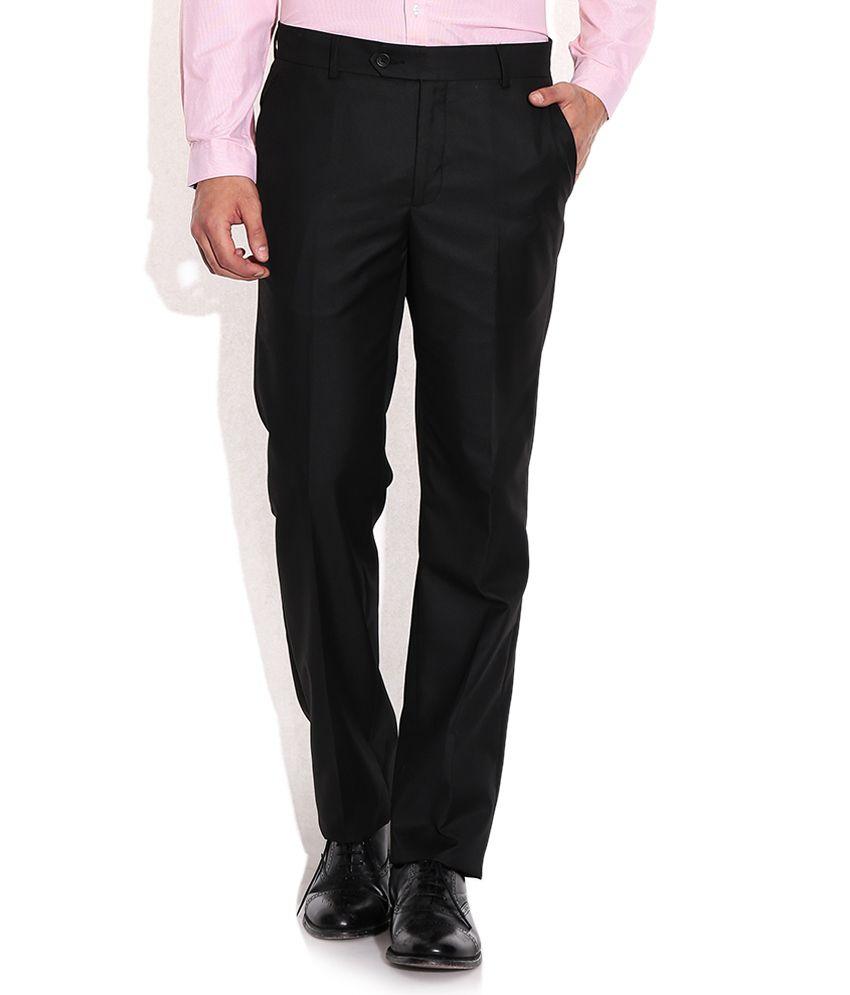 Excalibur Black Slim Fit Formal Trousers