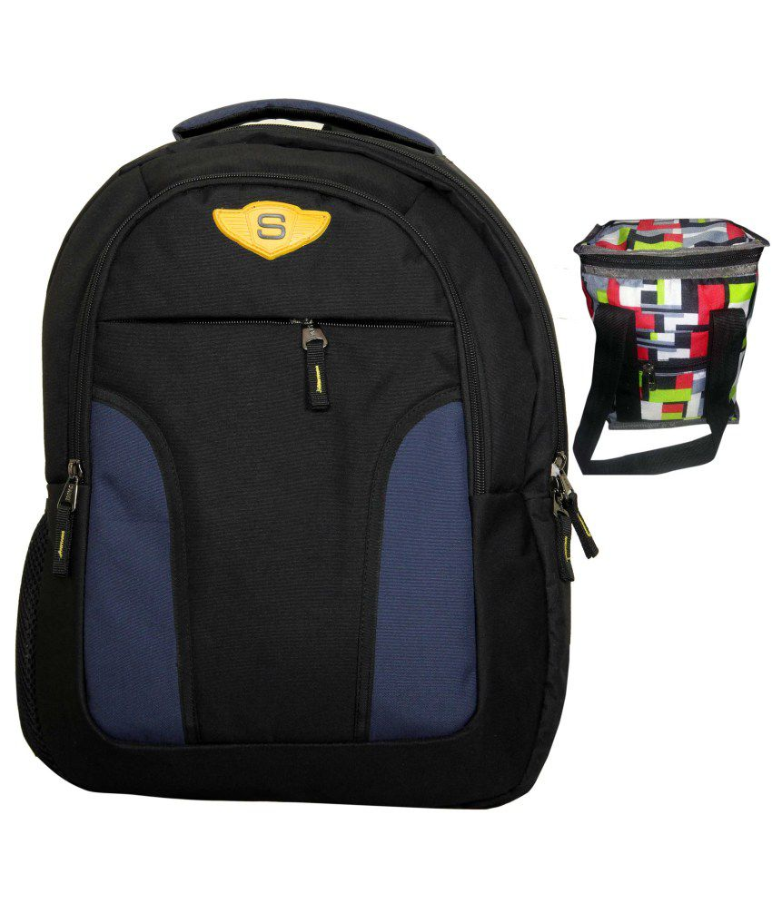 Sami Blue Polyester Laptop Backpacks With Lunch Box - SAMI001BBLB