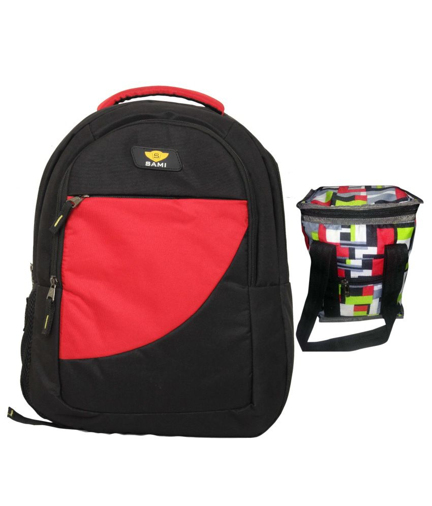 Sami Red Polyester Laptop Backpacks With Lunch Box - SAMI001ARLB