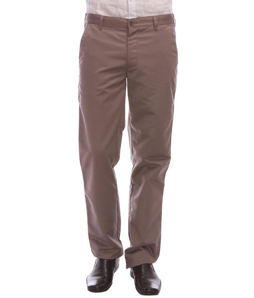 Urban Nomad Brown Cotton Regular Casuals Trouser