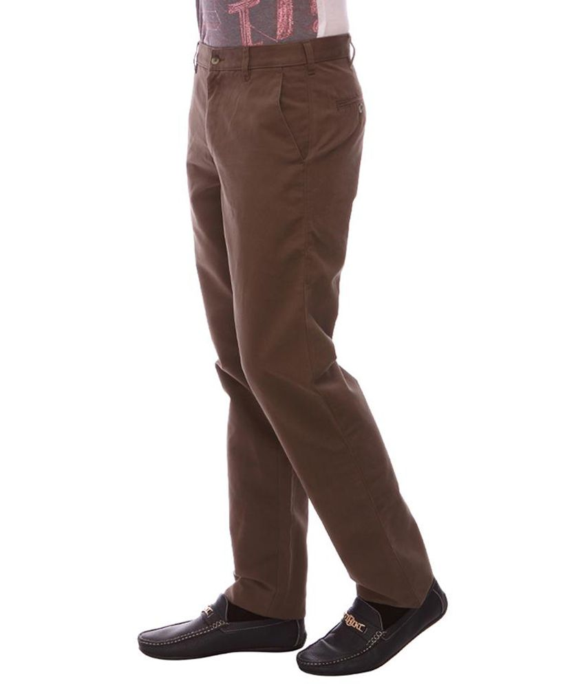 Urban Nomad Brown Flat Casuals Trouser