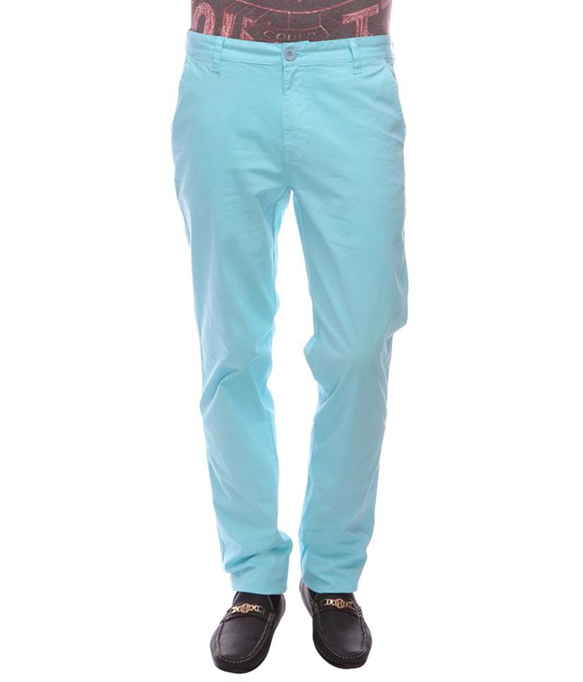 Urban Nomad Cool Blue Cotton Flat Casuals Trouser