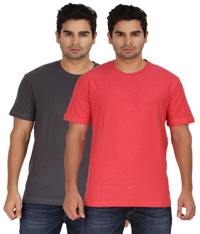 Goflaunt Half Sleeves Set Of 2 Cotton Blend Round T-shirts