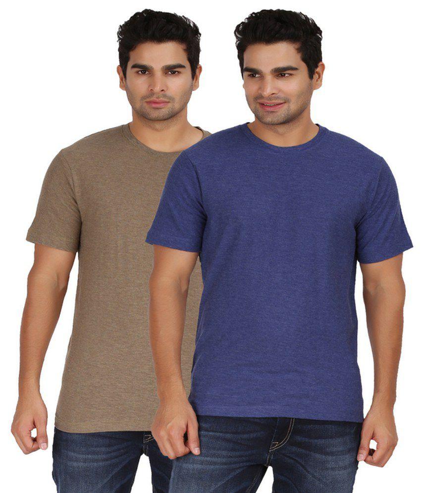 Goflaunt Half Sleeves Set Of 2 Cotton Blend Round T-shirts