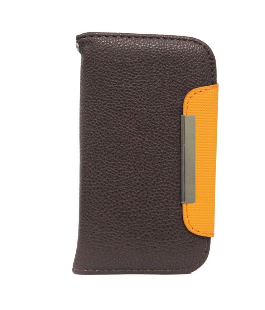 Jo Jo Z Flip Case Cover For Sony Xperia Zl - Brown And Orange