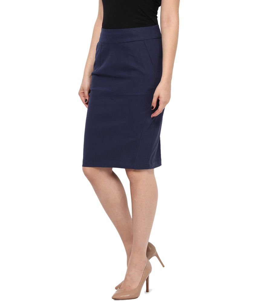 Buy Kaaryah Women's Navy Blue Pencil Fit Formal Skirts Online at ...