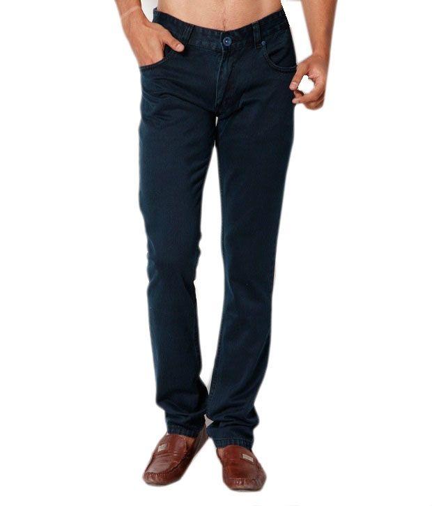 Mukul Collection Dark Blue Cotton Blend Demin Jeans