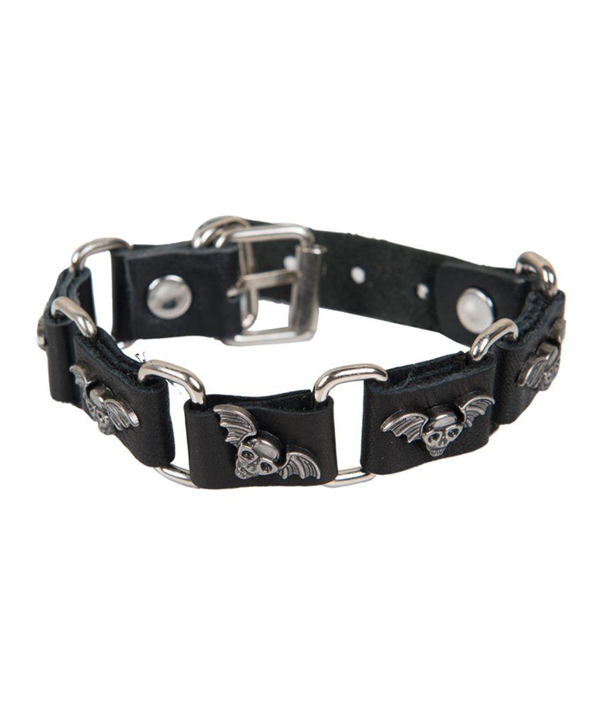 Taj Pearl Black Flying Skull Leather Bracelet
