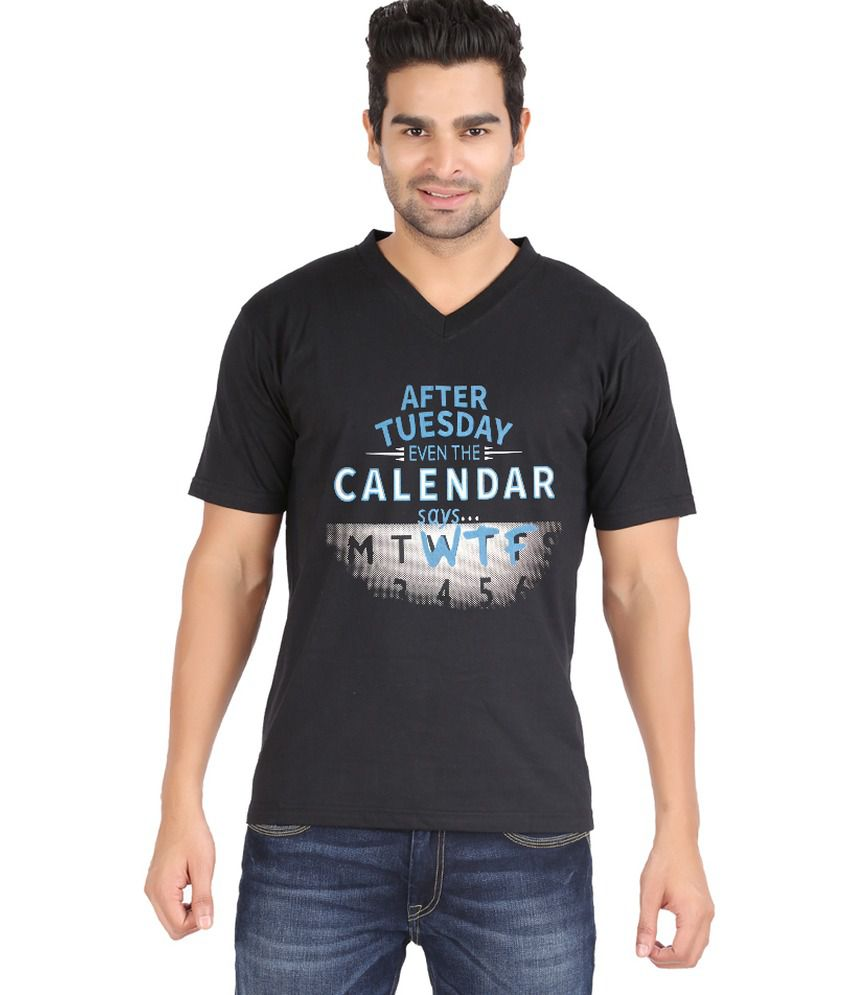 Zovogue Edge Calendar Black Printed Men's V Neck T-Shirt