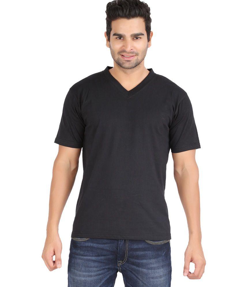 Zovogue edge plain black men 39 s v neck t shirt buy for Mens plain v neck t shirts