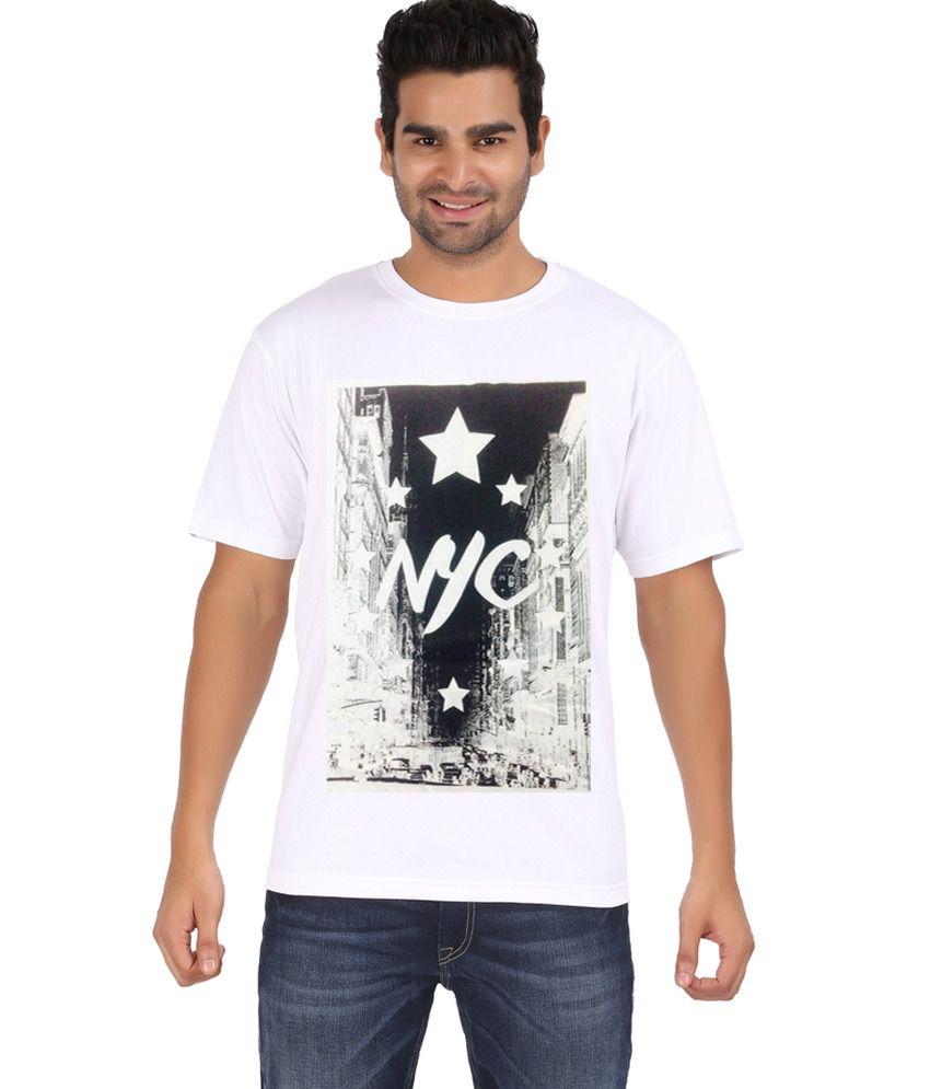 Zovogue NYC White Printed Men's Round Neck T-Shirt