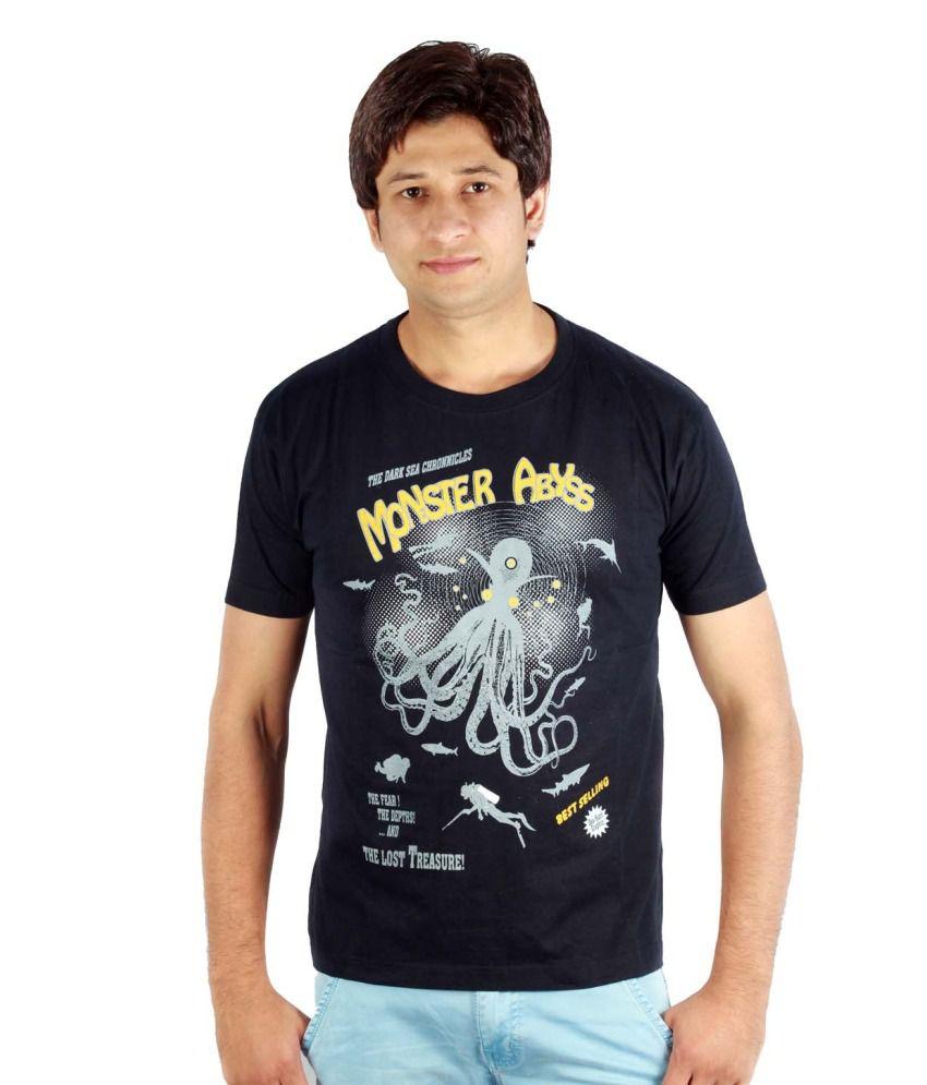 Fayona Barfi Black Cotton Printed Round Neck T-shirt
