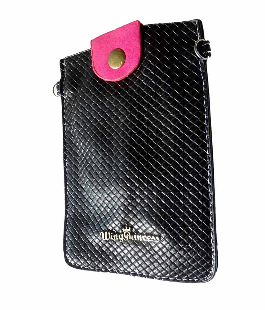 Fusion Black Two Compartment Mobile Clutch