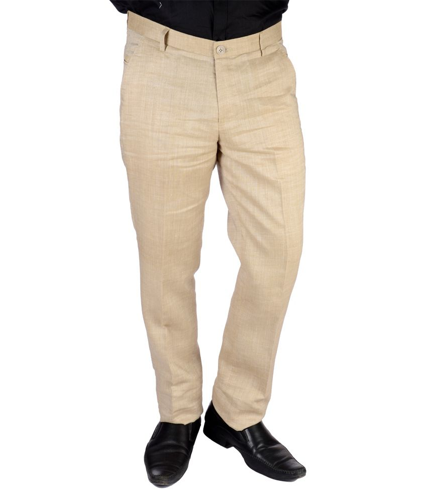 Jargon Fashion Beige Linen Slim fit Formal Trouser