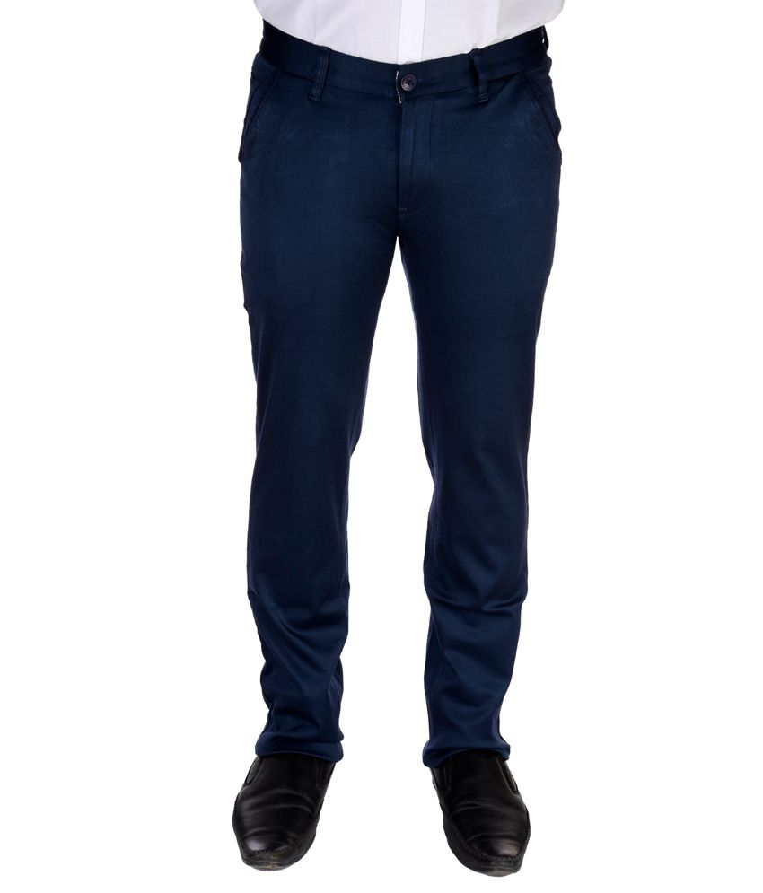 Jargon Fashion Blue Cotton Lycra Slim fit Formal Trouser